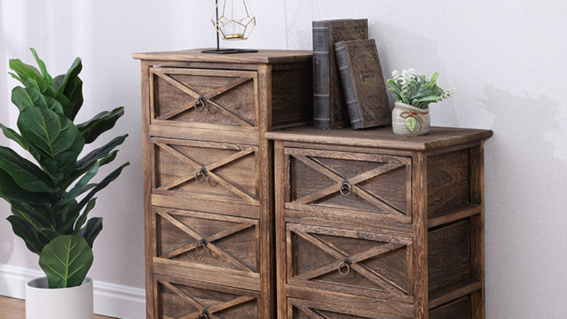 Creative Nordic Simple Solid Wood Cabinet Paulownia Furniture Retro Style