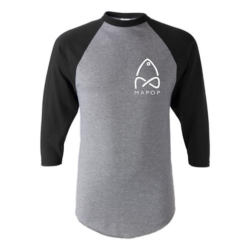 MaPop Fishing 3/4 Sleeve Baseball Shirt