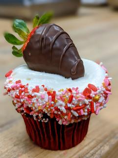 Chocolate Dipped Strawberry Cupcake