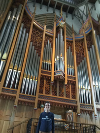 Standing by Merton College Dobson Organ
