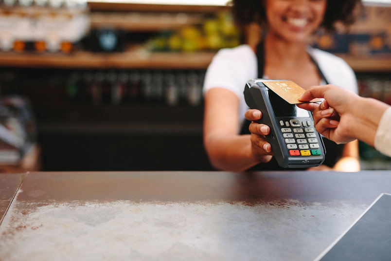 Customer making wireless or contactless