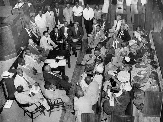Shreveport Dr. King meets with civil rights leaders at the Galilee Baptist Church in Shreveport, LA in 1958. Photo courtesy NAACP Simpkins & Brock, LLC).