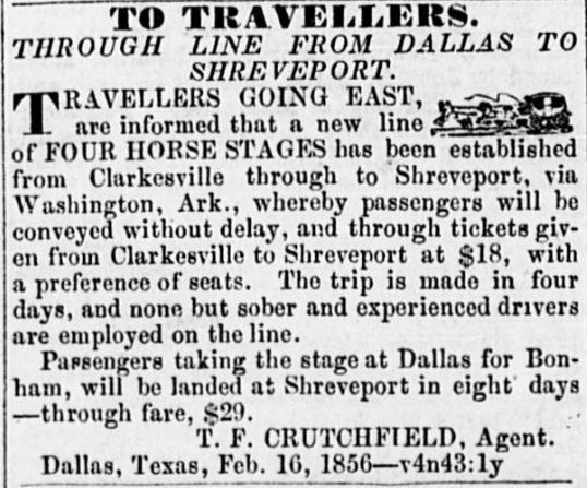 Clarksville to Shreveport stage coach via Washington Dallas Herald aug 9 1856