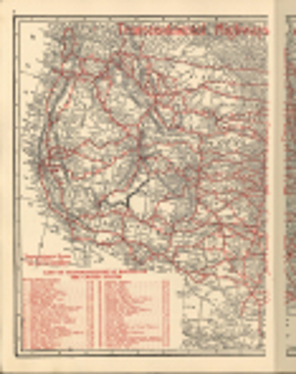 1918 road map (western half of US) shows the route names