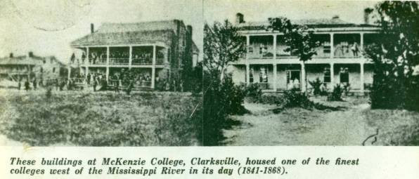 The buildings at McKenzie College, j depicted in photographs in the WPA Guide to Texas