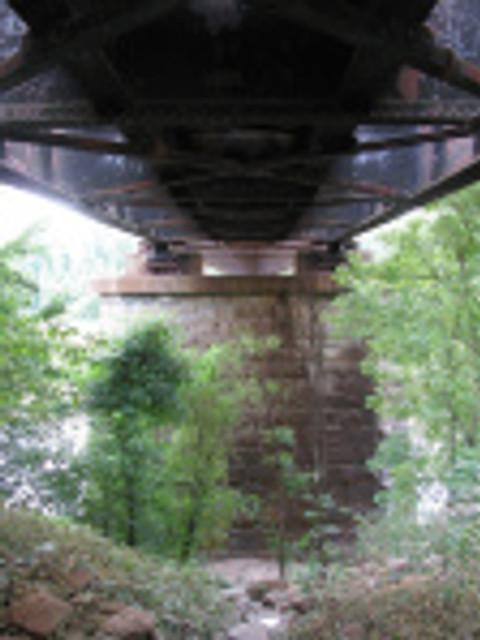 The railroad bridge above the Red River at Fulton.