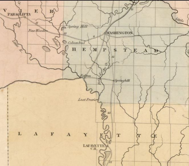 Map snip Arkansas post offices 1840s