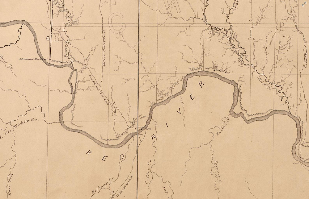 Portion of an 1872 map of the Chickasaw Nation in Indian Territory LOC