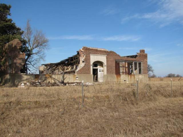 The remains of a school on an Oklahoma prairie.