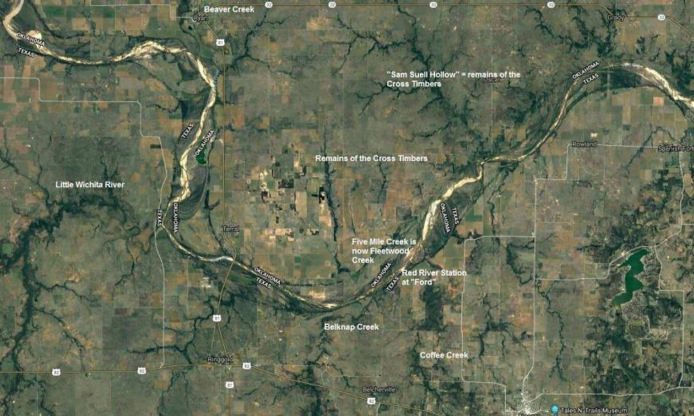 Google Map image of the current day 1872 map of a portion of the Chickasaw Nation