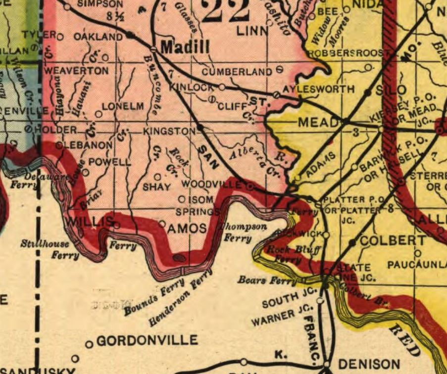 1905 map snip of Marshall County with Willis OK LOC