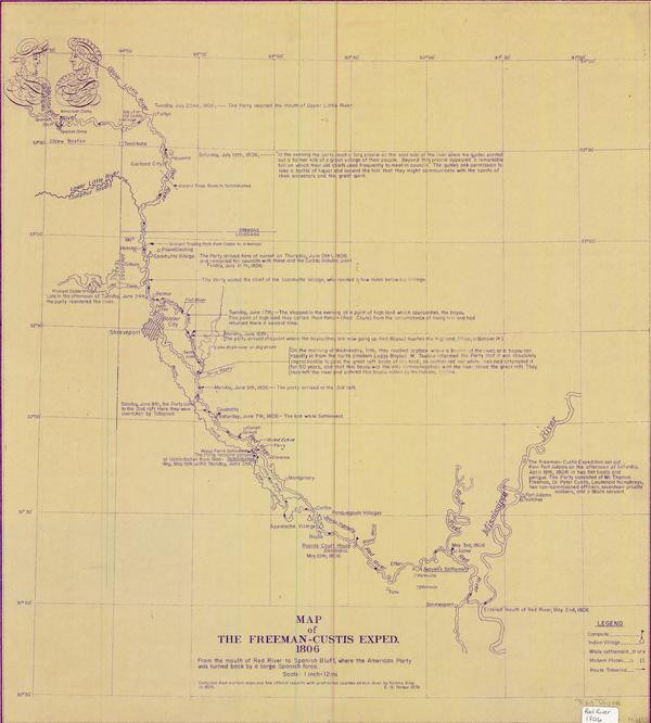 Freeman Custis overlay map from 1974 by E M Parker a civil engineer original 1806 map Louisiana Digital Library