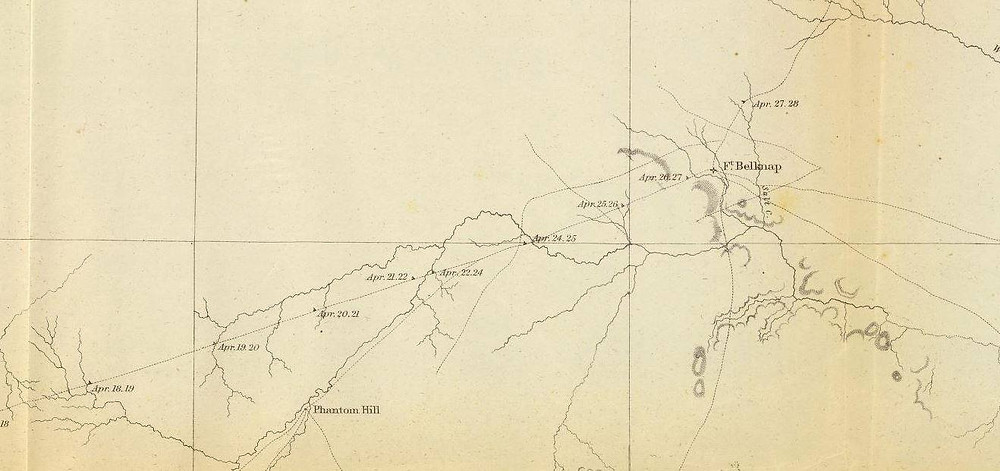 Another portion of the1861 map from the John Pope expedition of 1854 shows that he took a route that closely mirrored the Butterfield