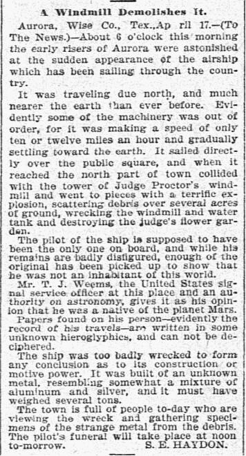 Haydon_article,_Aurora,_Texas,_UFO_incident,_1897