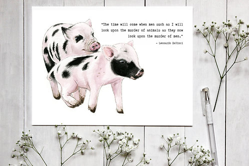 Piglets Watercolour Print with quote by Leonardo da Vinci. Pig painting
