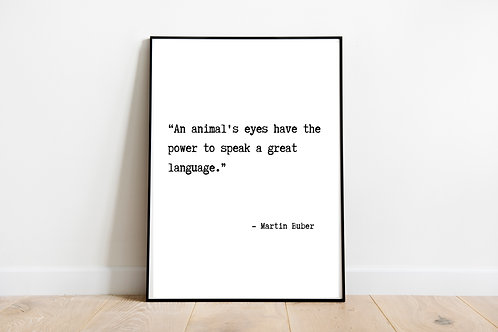 Buber Quote Printable Poster, Animal Rights Quote, Vegan Quote, Vegan Home Decor