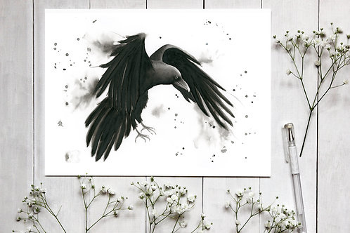 Raven Watercolour and Ink Fine Art Print. Raven Wall Art, Raven Painting