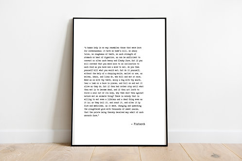 Plutarch Quote Printable Poster, Vegan Wall Art, Animal Rights Quote, Vegan Gift