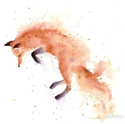 Fox Miniature Watercolour