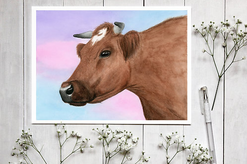 Realistic Cow Watercolour Print. Vegan Home Decor, Nursery decor, Bull painting