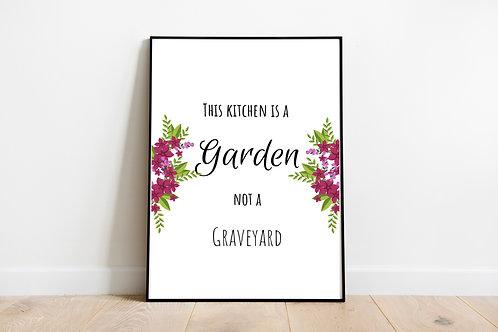 Printable Vegan Kitchen Poster, Vegan Quote, Vegan Kitchen Decor, Vegan gift