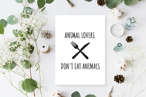 Animal Lovers Don't Eat Animals Poster, Animal Rights Quote, Vegan Home Decor