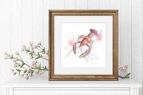 Crayfish Miniature Loose Watercolour Print, Sealife Art, Vegan Nursery Art