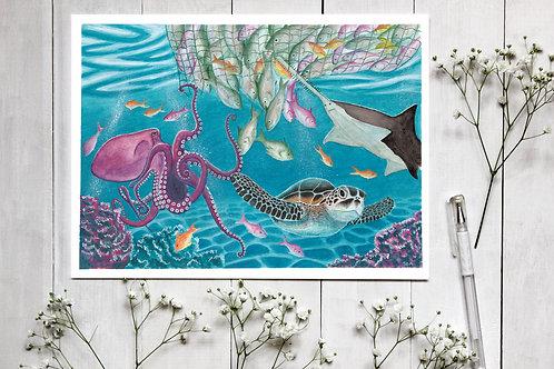 The Great Escape, Fine art print, Vegan Wall Art, Vegan Decor, Seascape painting