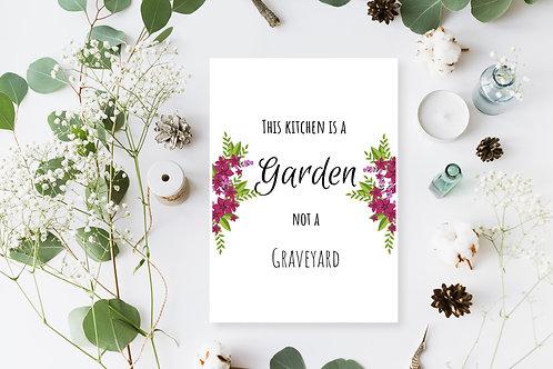 Vegan Kitchen Poster, Vegan Quote, Vegan Home Decor, This Kitchen Is A Garden