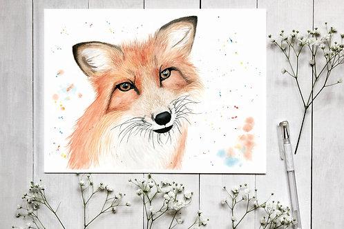 Fox Watercolour Fine Art Print. Vegan Wall Art, Vegan Home Decor, Nursery Decor