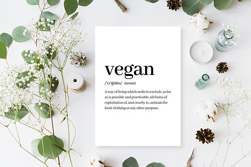 Vegan Definition Poster, Vegan Wall Art, Animal Rights Quote, Vegan Home Decor