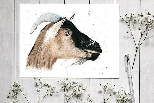 Realistic Goat Watercolour Print. Vegan Wall Art, Vegan Home Decor, Nursery