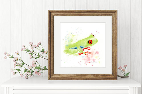 Tree Frog Miniature Loose Watercolour Print, Amazon Frog Painting, Vegan Nursery