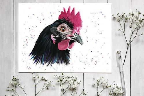 Realistic Chicken Watercolour Print. Vegan Wall Art, Vegan Home Decor, Hen Art