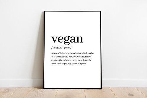 Vegan Definition Printable Poster, Vegan Wall Art, Animal Rights Quote