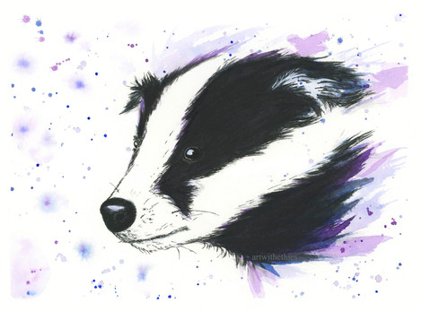 Badger Watercolour Portrait