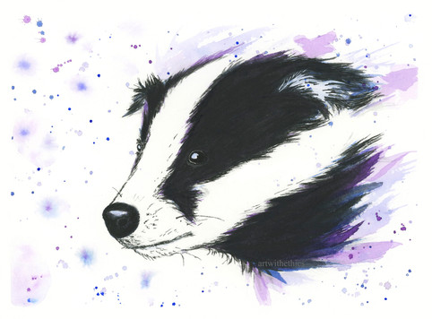 Badger Watercolour Portrait
