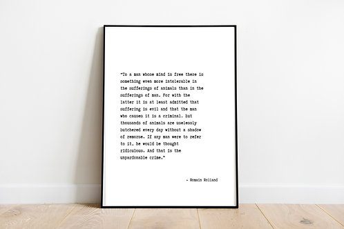 Romain Rolland Quote Printable Poster, Animal Rights Quote, Vegan Home Decor