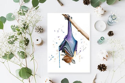 Flying Fox Bat Watercolour Fine Art Print. Bat Painting, Vegan Nursery Decor