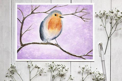 Winter Robin Watercolour Print, Vegan Wall Art, Vegan Home Decor, Wildlife art