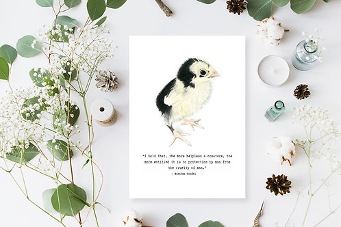 Chick Watercolour Print with Gandhi quote, Chick Painting, Vegan Nursery Decor