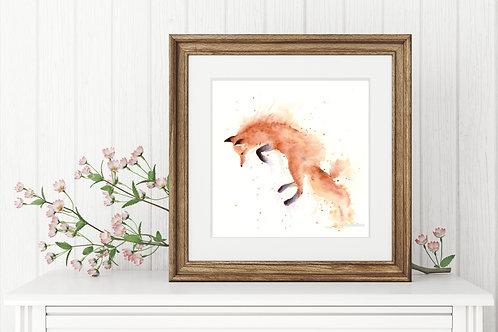 Fox Miniature Loose Watercolour Print, Jumping Fox Painting, Vegan Nursery