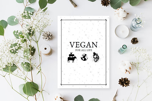 Vegan For All Life Poster, Animal Rights Digital Art, Vegan Home Decor,Vegan Art