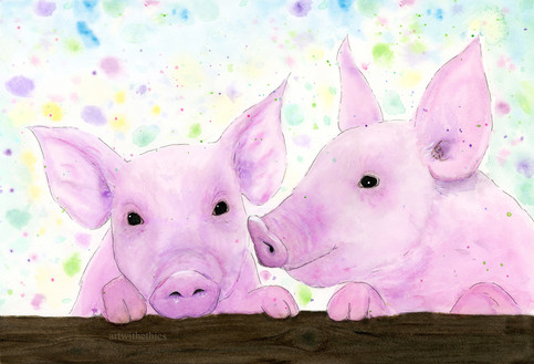Inquisitive Piglets in Watercolour