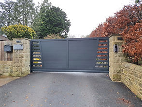 Bespoke aluminium automated and electric gate in Yorkhire