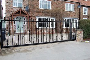 Fabricated bespoke steel automated and electric gate in Yorkhire