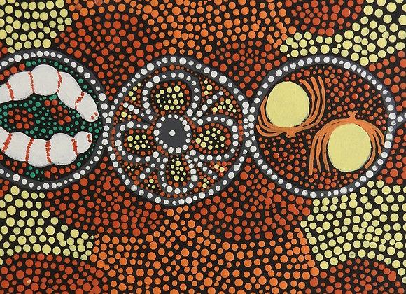 "EF 034 ""Women Gathering with Digging Sticks"" ~ Eileen Forrest, Fitzroy Crossing"