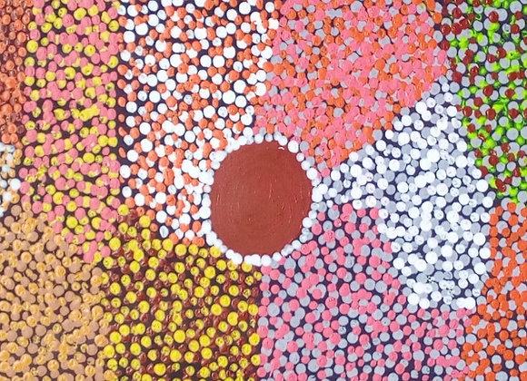 "MagNan 009 ""Many Coloured Flowers"" ~ Maggie Nanala, Balgo"