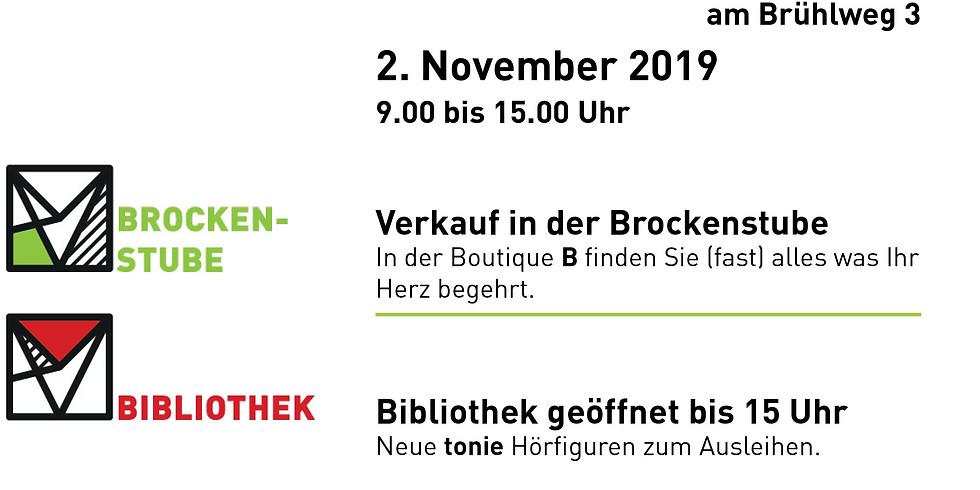 Brockenstube + Bibliothek: Offener Samstag mit Kaffee und Kuchen