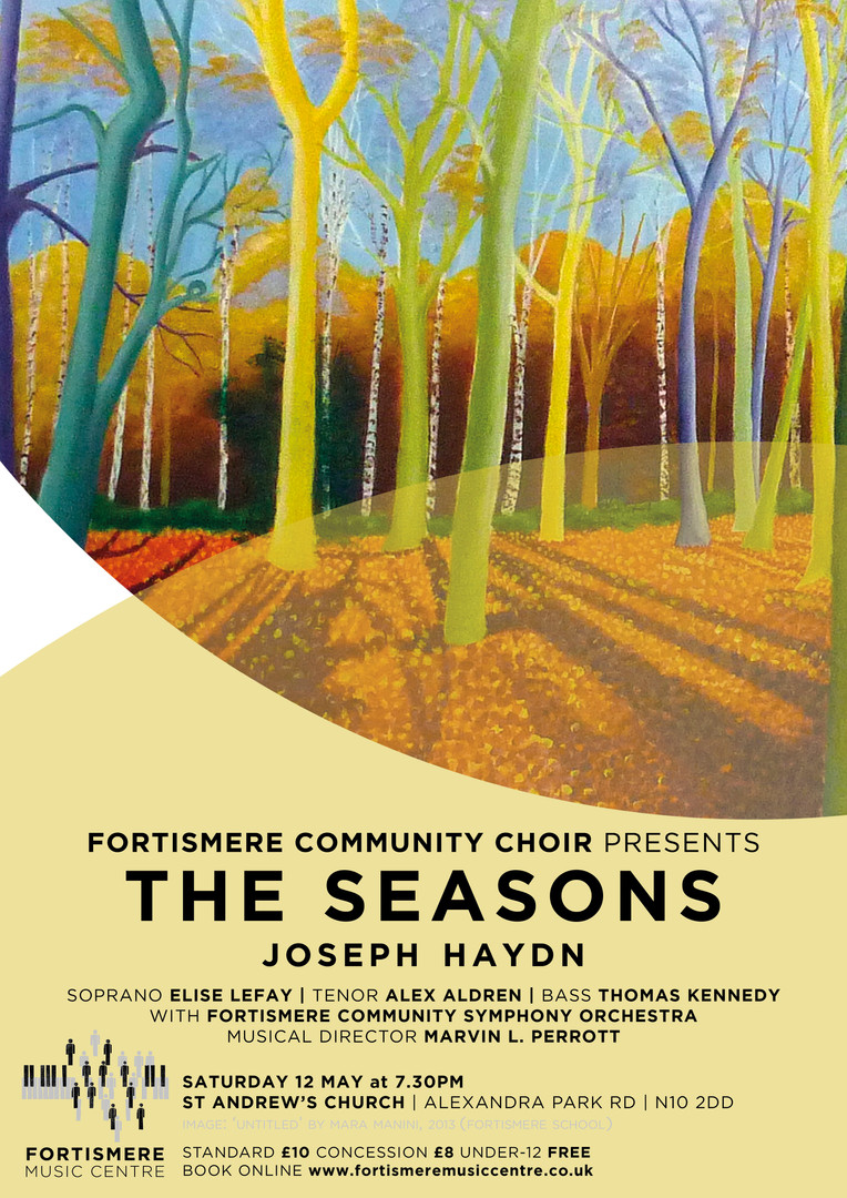 pring 2018 - Haydn The Seasons Programme: HAYDN - The Seasons  Der Frühling Der Sommer Der Herbst Der Winter Soloists:  Elise Lefay - soprano Tim Kingston - tenor Thomas Kennedy - bass Musical Director: Marvin L. Perrott  Accompanied by John Eady (continuo) and the Fortismere Community Symphony Orchestra.